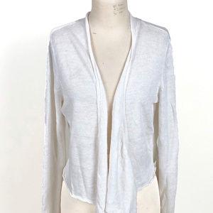 Eileen Fisher White Linen XL Open Front Cardigan